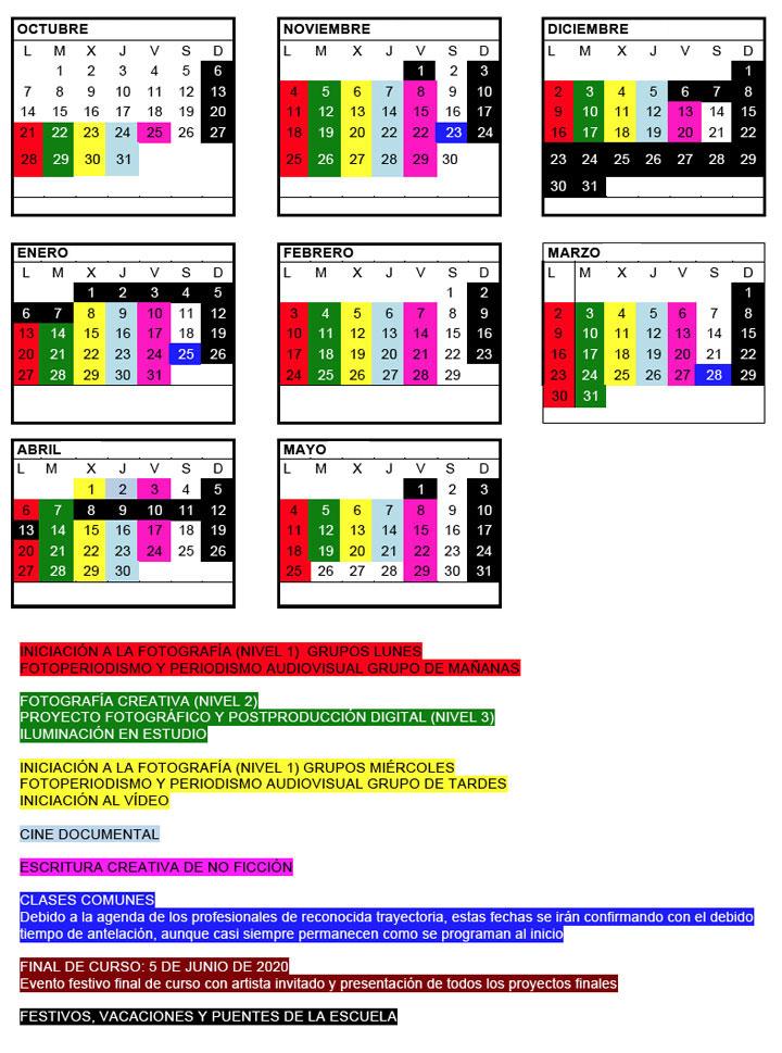 calendario escuela de fotografia 2019 2020