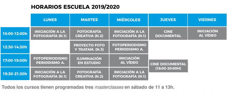 Horarios de nuestra escuela de fotografía en Barcelona para el año 2019-2020