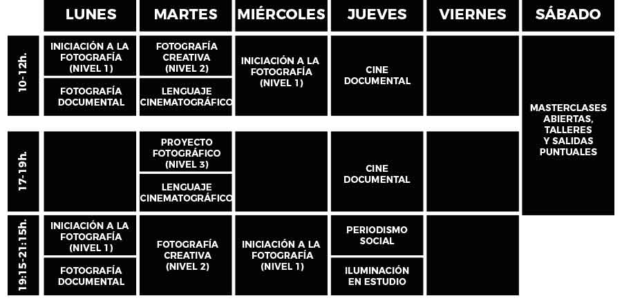 horarios de la escuela de fotografía en barcelona
