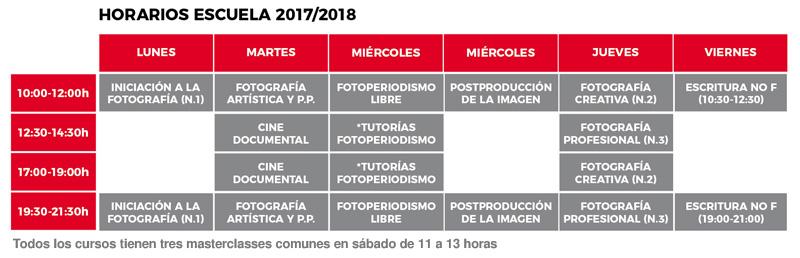 Horarios de la escuela DateCuenta 2017/2018