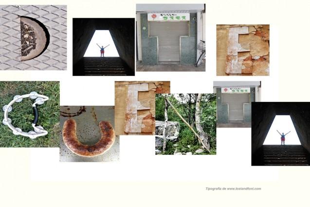 Nuestro nombre realizado con el alfabeto de Lost&Font.