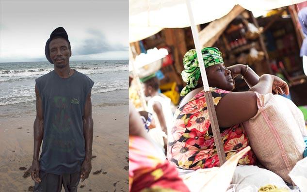 Un pescador y una comerciante exhausta por el calor. | Fotos: LAURA VILLANUEVA