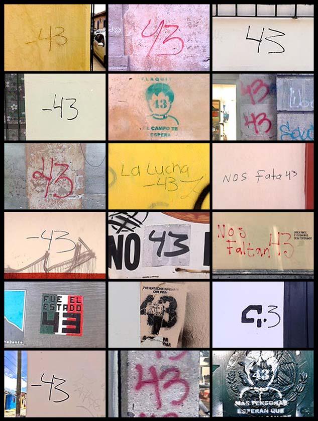 Un mosaico que demuestra que la desaparición de los 43 de Ayotzinapa no ha sido olvidada de la mente de los mexicanos. | Fotos: JOSÉ MANUEL SALMERÓN