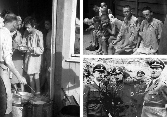 Izquierda: En los últimos meses de la guerra llegaron a Mauthausen convoys de otros campos, evacuados delante de la avanzada aliada. Muchos de ellos murieron antes de la liberación del campo o las semanas posteriores. | Derecha, arriba: Sala de hospital militar americano en Gusen. Antiguos presos que aún mostraban evidentes secuelas de su paso por el campo. | Derecha, abajo: Himmler, Ziereis y Kaltenbrunner en la pedrera Wienergraben.