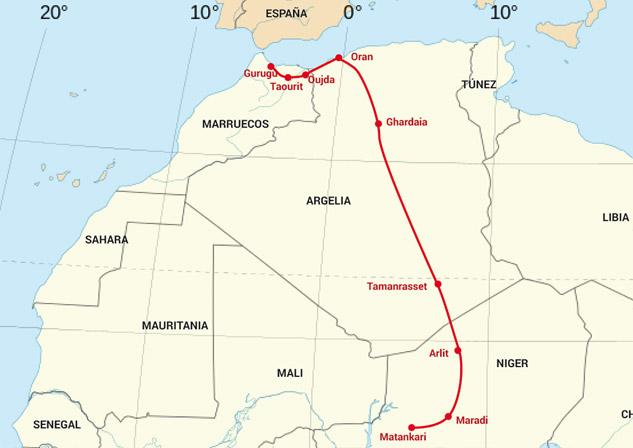 Omar recorrió más de 4800 kilómetros hasta la valla de Melilla. | Mapa: DATECUENTA basado en Wikimaps